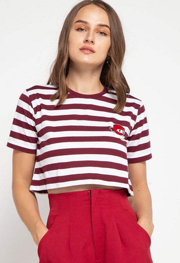 LTD52 thirdday CL Crop Loose stripe maroon white ninja dakir kaos casual wanita
