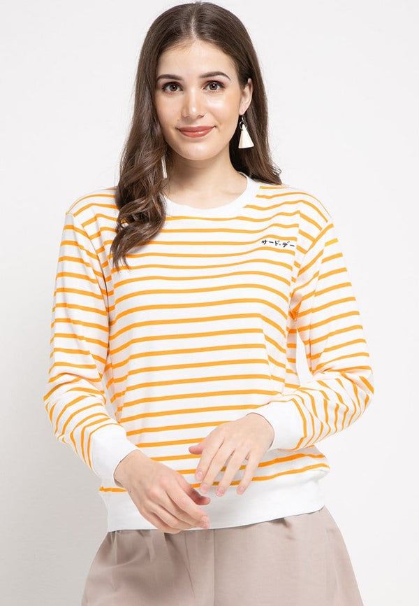 LO011 Thirdday sweater casual wanita dakir katakana stripe putih kuning