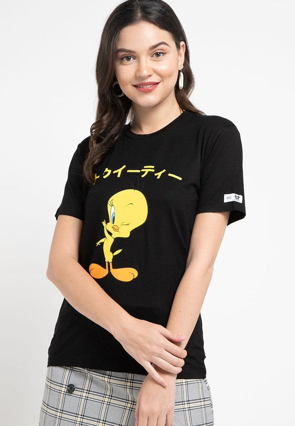 LTC90 Third Day x Ntop kl looney tunes tweety japan hitam kaos casual wanita