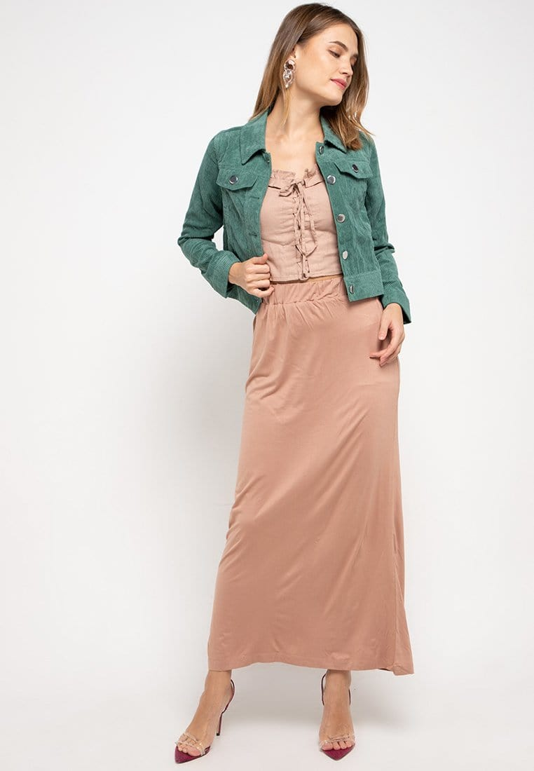 FB005 Long Skirt nade Light Brown