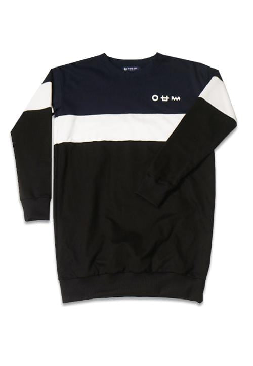 LTA71Y Lds Long Sweater Logo cst nv-wh-blk X Boy