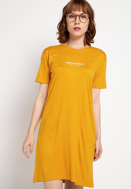 LTC24 ld simple does it katakana terusan kuning mustard dress panjang wanita