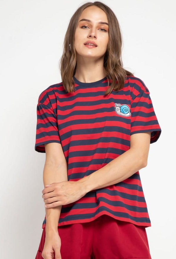 LTD43 thirdday stripe black red hazi genius dakir kaos casual wanita