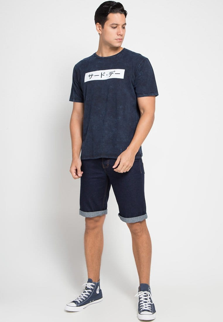 Third Day MTD15C washtees invert katakana nv T-shirt Navy