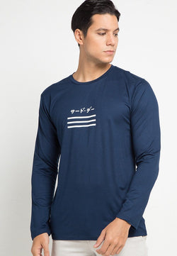 Third Day MTD82E ls katakana 3 underline nv T-shirt Navy
