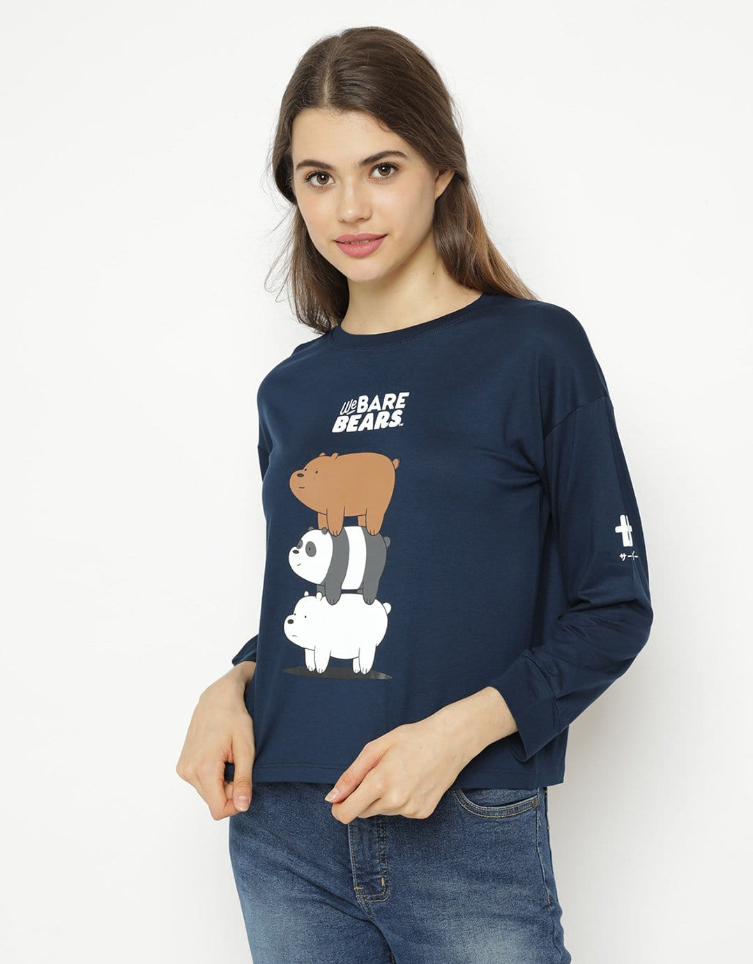 LTC63 lv we bare bears bearstack navy kaos hijab ladies WBB