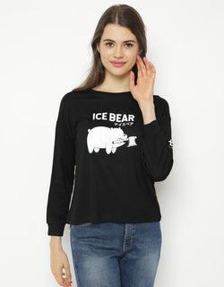 LTC72 lv we bare bears ice bear mono hitam kaos hijab ladies