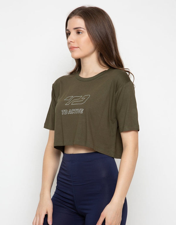 LS017 Sport CL Crop Loose Wanita Dateng Td Active  Outline Hijau Army