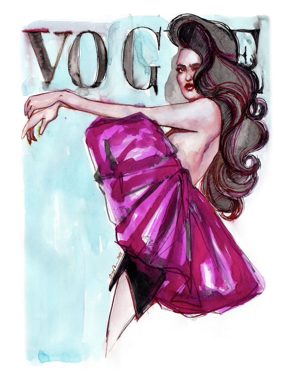 Chiara. Illustration of a woman inspired by Vogue cover. Art Print Poster