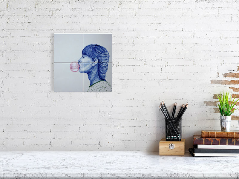 Bubblegum Girl | Pop art | Portrait | Tile illustration | Giclée Print on Hahnemühle | Art Poster | Wall Art