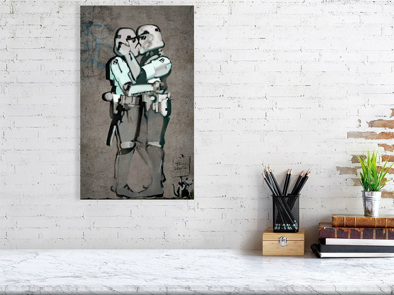 Kissing clones. Star Wars. Film Art Poster