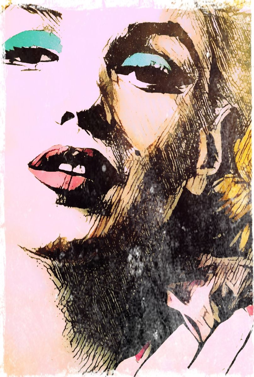 The beautiful Marilyn Monroe drawn in a comic book style with a nod to Pop Art and Andy Warhol. Art Poster Print