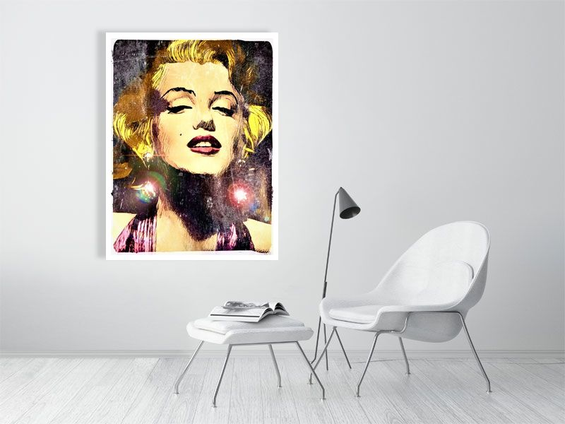 Beautiful Marilyn Monroe drawn in a comic book style with a nod to Pop Art and Andy Warhol. Art Poster Print