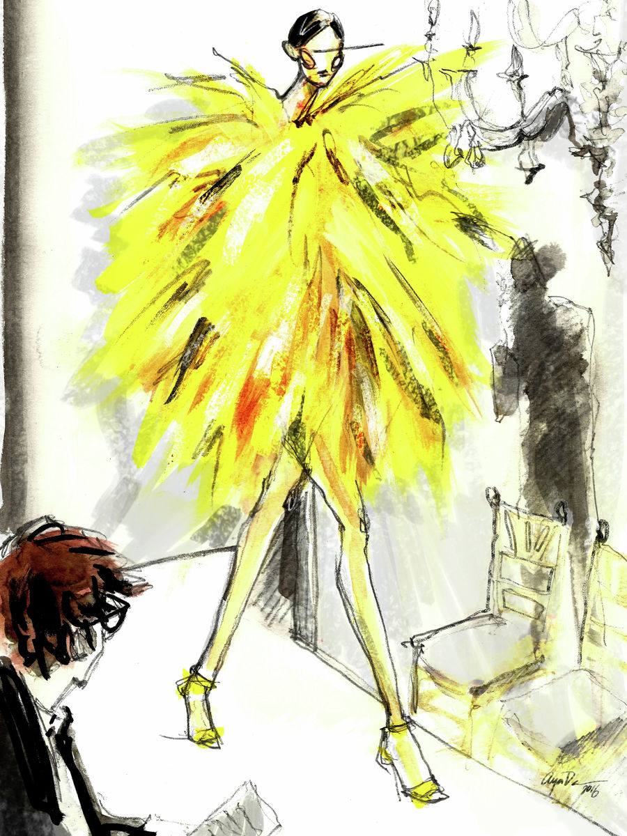 Fashion sketch illustrating a model on a catwalk, wearing a yellow statement fur piece. Art Poster