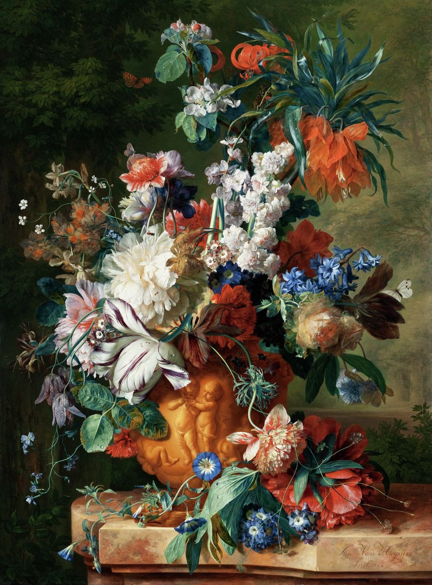Masters Print, Bouquet of Flowers in an Urn, 1724 by Jan van Huysum. Original Oil on wood.