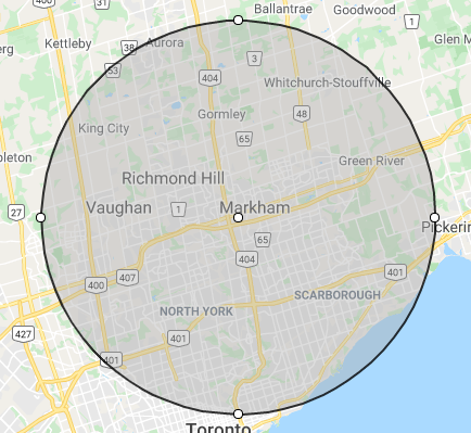 20km delivery map