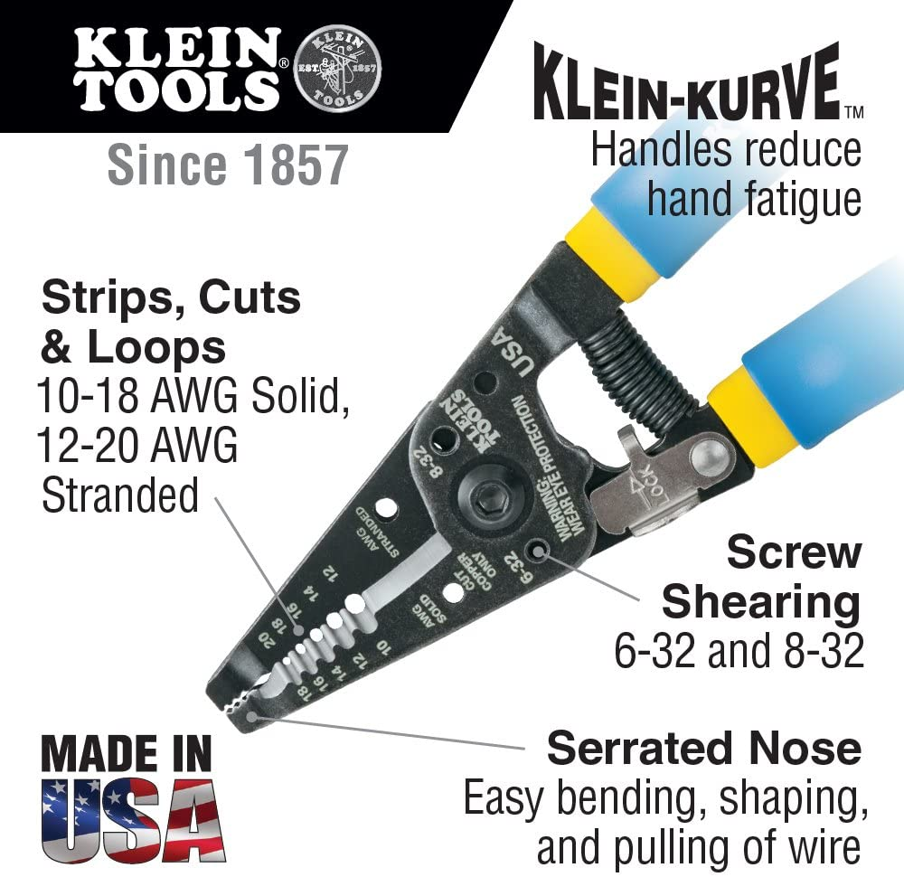 Klein Tools 11055  7-1/8 in. Klein-Kurve Wire Stripper/Cutter for 10-18 AWG Solid Wire and 12-20 AWG Stranded Wire