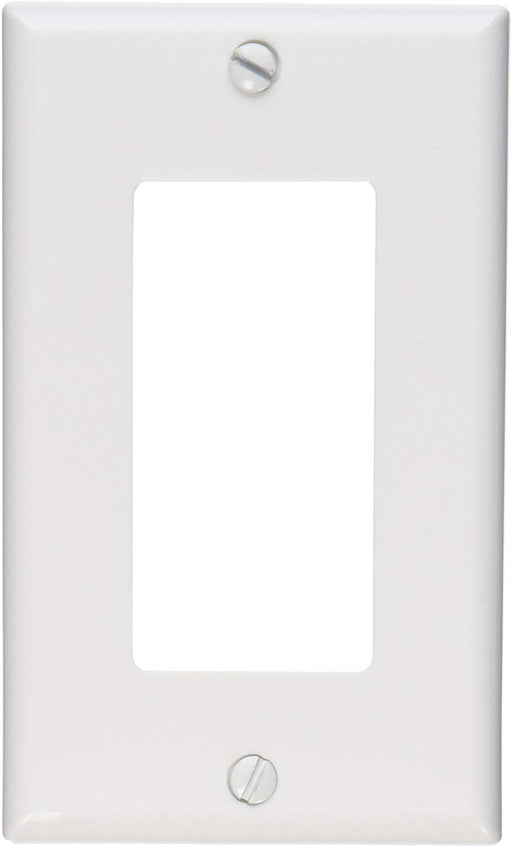Leviton 80401-NW 1-Gang Decora/GFCI Device Wallplate, Standard Size, Thermoplastic Nylon, Device Mount, White - Consavvy