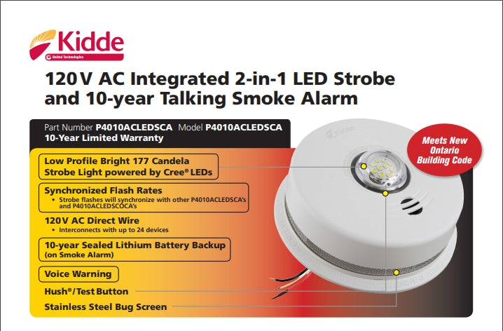 Kidde P4010ACLEDSCA 2 in 1 integrated 120 V AC wire-in smoke alarm with LED strobe light--10-year sealed battery backup - Consavvy