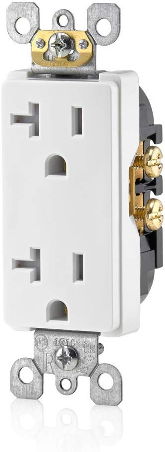 Leviton T5825-W 20 Amp, Tamper- Resistant, Decora Duplex Receptacle, Residential Grade (White) wall plate excluded - Consavvy