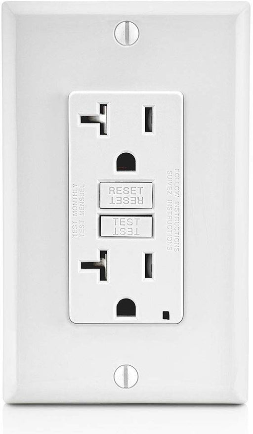 Leviton GFTR2-W Self-Test SmartlockPro Slim GFCI Tamper-Resistant Receptacle with Led Indicator, 20-Amp, White wall plates included - Consavvy