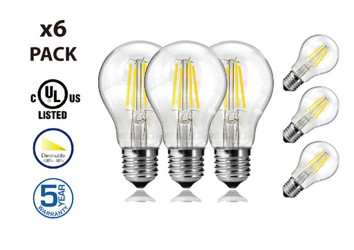 DawnRay LED Filament Bulb 6W 2700K Warm White E26 Screw Base Dimmable Bulbs UL-Listed - Consavvy