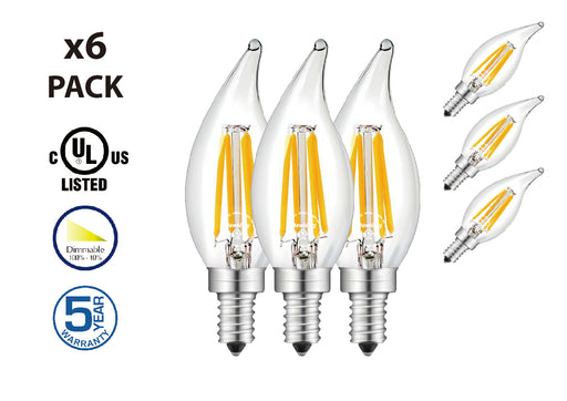 DawnRay LED Filament Bulb 4W (35W Equivalent) 2700K Warm White Candelabra E12 Screw Base Dimmable Candle Light Bulbs UL-Listed (DRE1241) - Consavvy