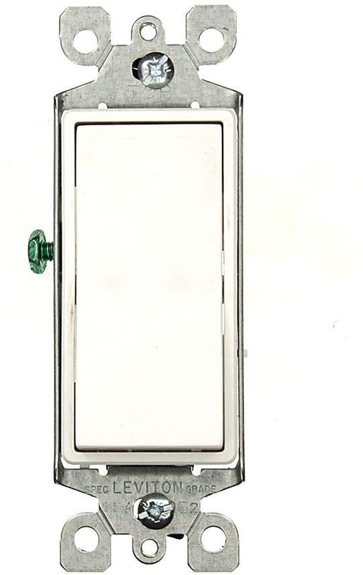 Leviton 5603-P2W 15 Amp, 120/277 Volt, Decora Rocker 3-Way AC Quiet Switch, Residential Grade, Grounding, White - Consavvy