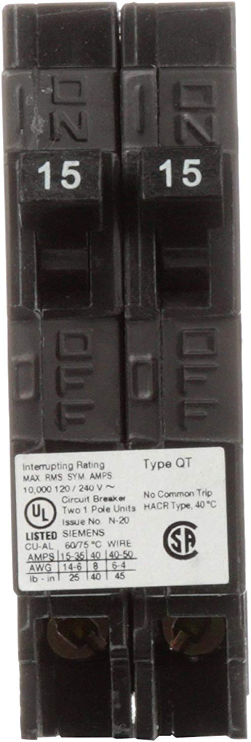 Siemens Q1515NC Two 15-Amp Single Pole 120-Volt Non-Current Limiting Circuit Breaker - Consavvy