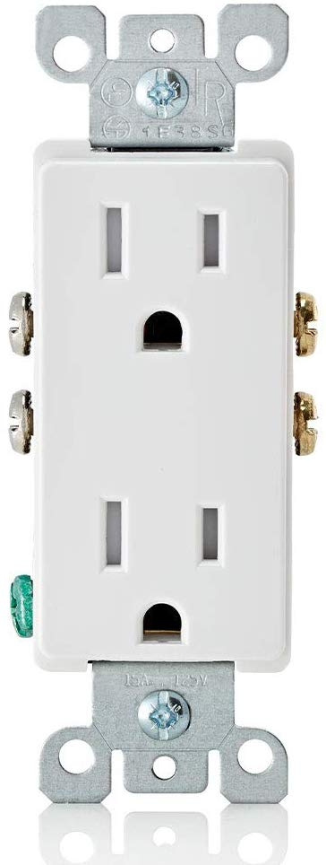 Leviton T5325-W 15 Amp 125 Volt, Tamper Resistant, Decora Duplex Receptacle, Straight Blade, Grounding (White) wall plates excluded 1Pack/10 Pack