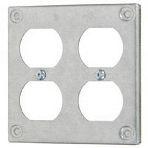 "Vista 20111- 4"" Square - Double Duplex Outlet - Raised 3/8"" Wall Plate"