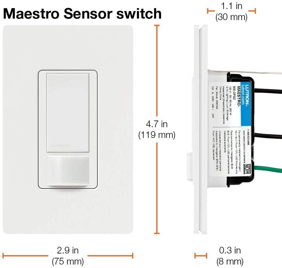 Lutron MS-OPS5M-WH Maestro Sensor Switch, 5-Amp, No Neutral Required, Single-Pole or Multi-Location, White - Consavvy