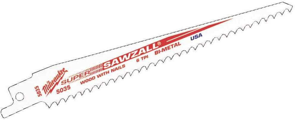Milwaukee 48-00-5036 9 in. 5 TPI Wood Cutting SAWZALL Reciprocating Saw Blades White (Pack of 5) - Consavvy