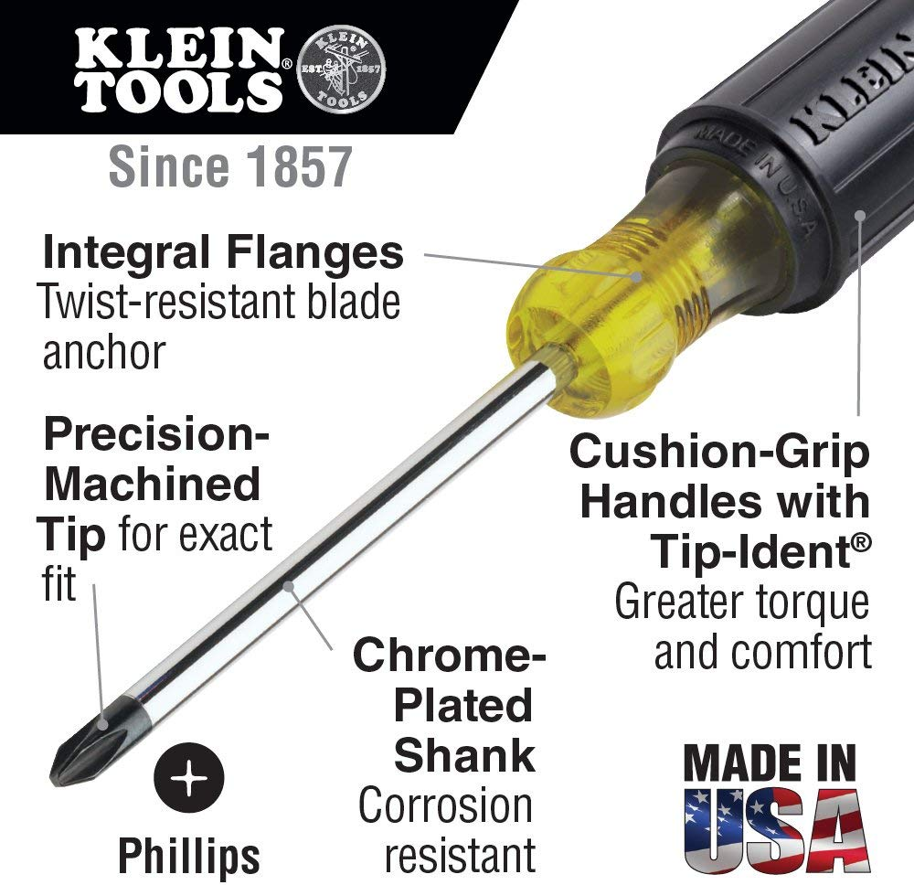 Klein Tools 603-10 No.2 Profilated Phillips-Tip Screwdriver with 10-Inch Round-Shank - Consavvy