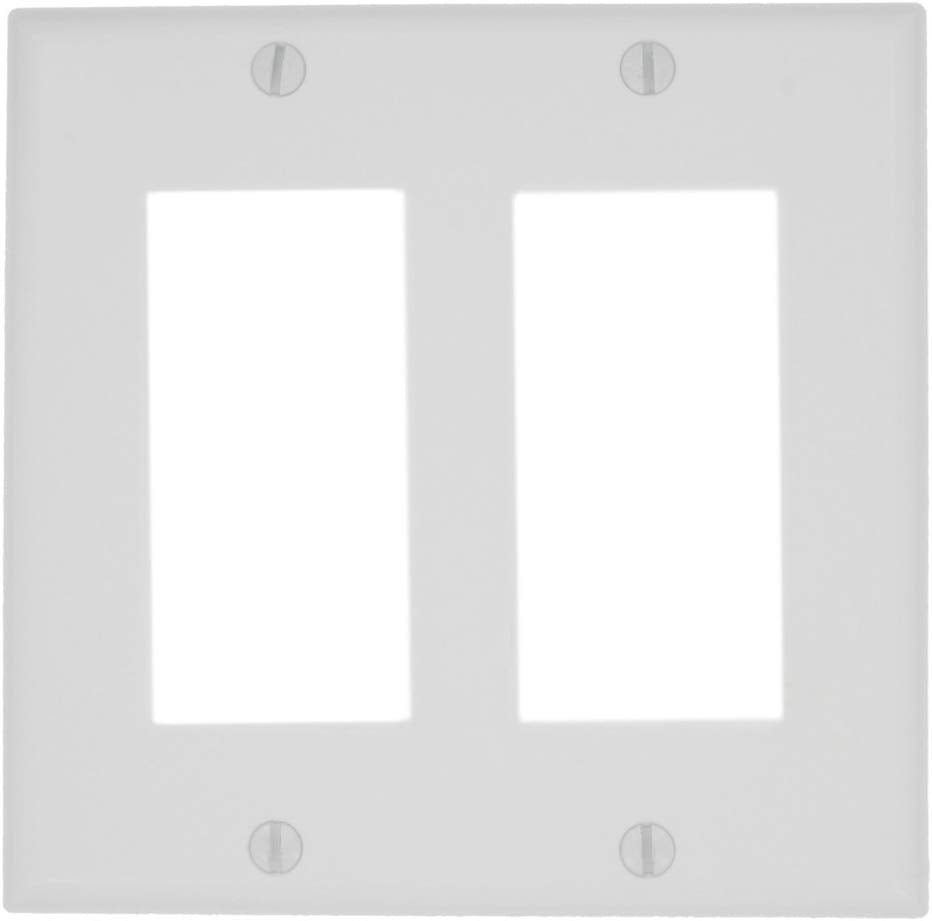 Leviton 80409-NW 2-Gang Decora/GFCI Device Wallplate, Standard Size, White - Consavvy