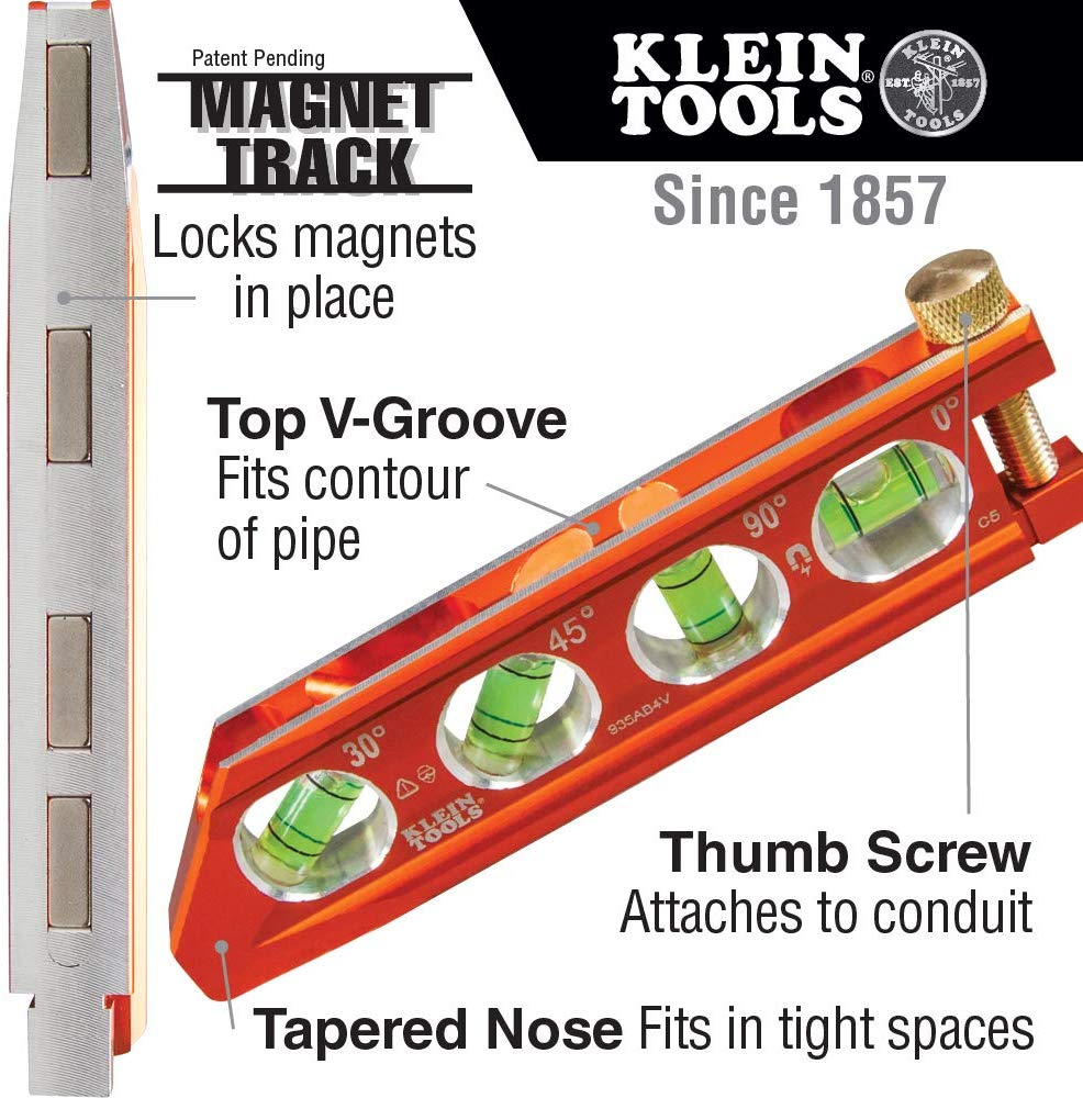 Klein Tools 935AB4V ACCU-Bend™ Level, 4 Vial, REM - Consavvy