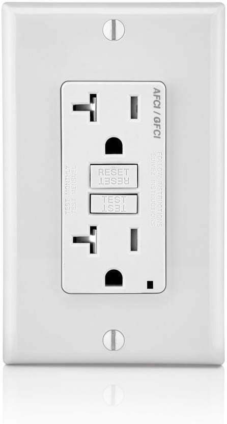 Leviton AFTR2-W 20-Amp, 120-Volt SmartlockPro Outlet Branch Circuit Arc-Fault Circuit Interrupter (AFCI) Receptacle, White wall plate included - Consavvy