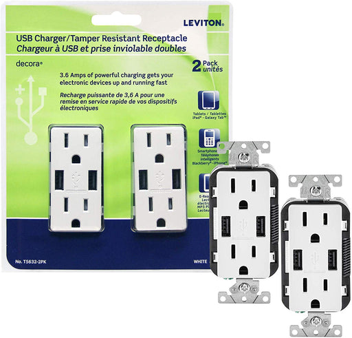 Leviton T5632-2Pk USB Charger/Tamper-Resistant Duplex Receptacle, 15-Amp, 2-Pack, White(wall plates excluded) - Consavvy