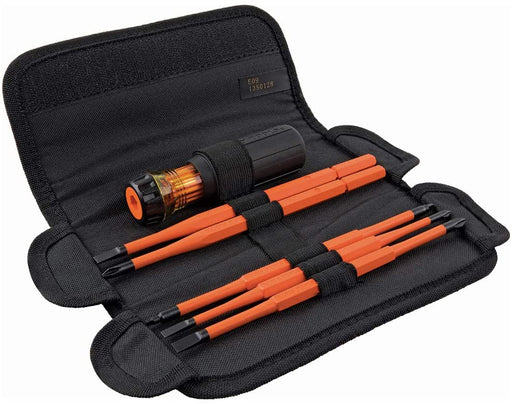 Klein Tools 32288 Insulated Screwdriver, 8-in-1 Screwdriver Set with Interchangeable Blades, 3 Phillips, 3 Slotted & 2 Square Tips