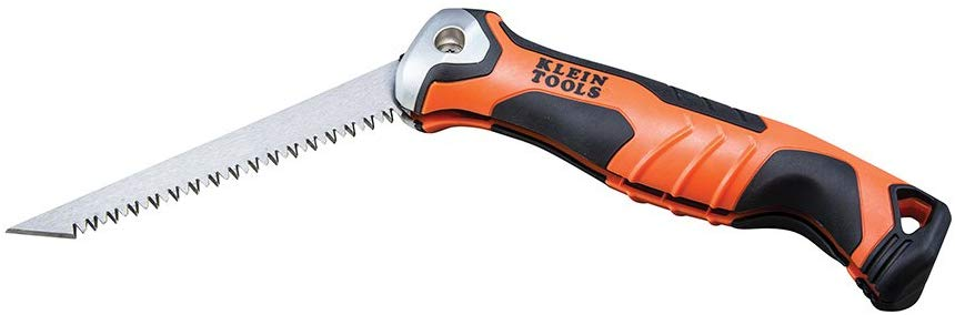 Klein Tools 31737 Drywall Saw, Folding Jab Saw/Utility Saw with Lockback at 180 and 125 Degrees and Tether Hole - Consavvy