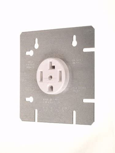 "Vista 45125 30A DRYER OUTLET Receptacle WITH 4 11/16"", COVER PLATE 4-wire outlet, 30A-120/240V, White"