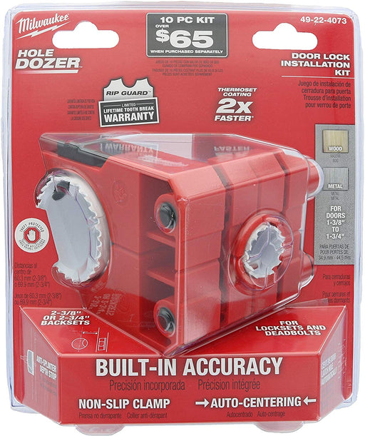 "Milwaukee 49-22-4073 Polycarbonate 1-3/8"" - 1-3/4"" Door Lock and Deadbolt Installation Kit with Included Hole Saw, Auto-Centering Guide and Non-Slip Clamp (Drill / Driver Not Included) - Consavvy"