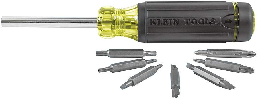 Klein Tools 32290 Multi-Bit Screwdriver with Storage with Cusion Grip for Maximum Torque and Comfort, 15-Piece - Consavvy