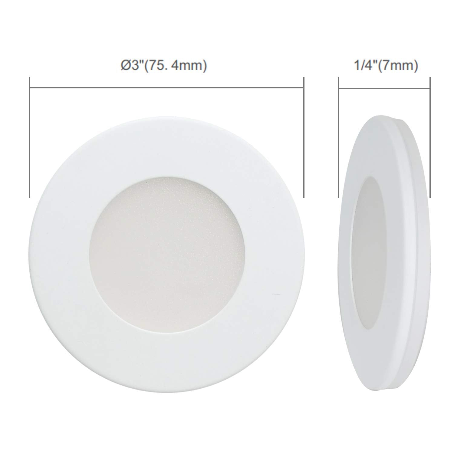 Ultra Slim LED DC 24V Under Cabinet Puck Light, Surface Mount or Recessed Mount, 3000K Warm White, ETL Listed (Nickle Cover) - Consavvy