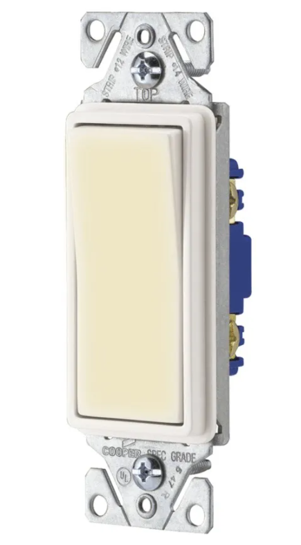 Eaton 7511W-SP-C 15 Amp 120/277V Heavy-Duty Grade Single-Pole Decorator Lighted Switch, White