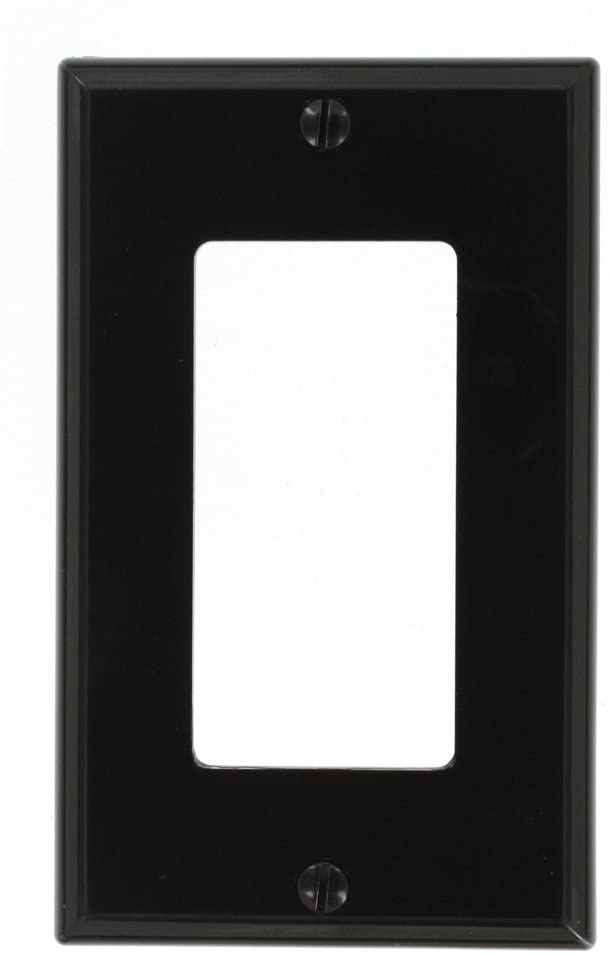 Leviton 80401-NE 1-Gang Decora/GFCI Device Decora Wallplate/Faceplate, Standard Size, Thermoplastic Nylon, Device Mount, Black