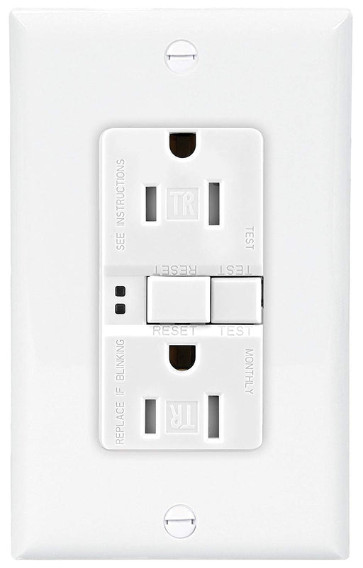 Eaton GFCI Self-Test 15A/20A -125V Tamper Resistant Duplex Receptacle with Standard Size Wallplate, White - Consavvy