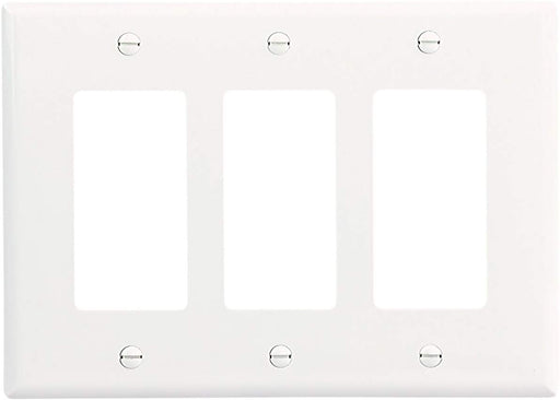 EATON PJ263W Mid-Size Polycarbonate 3-Gang Decorator GFCI Wallplate, White Color - Consavvy