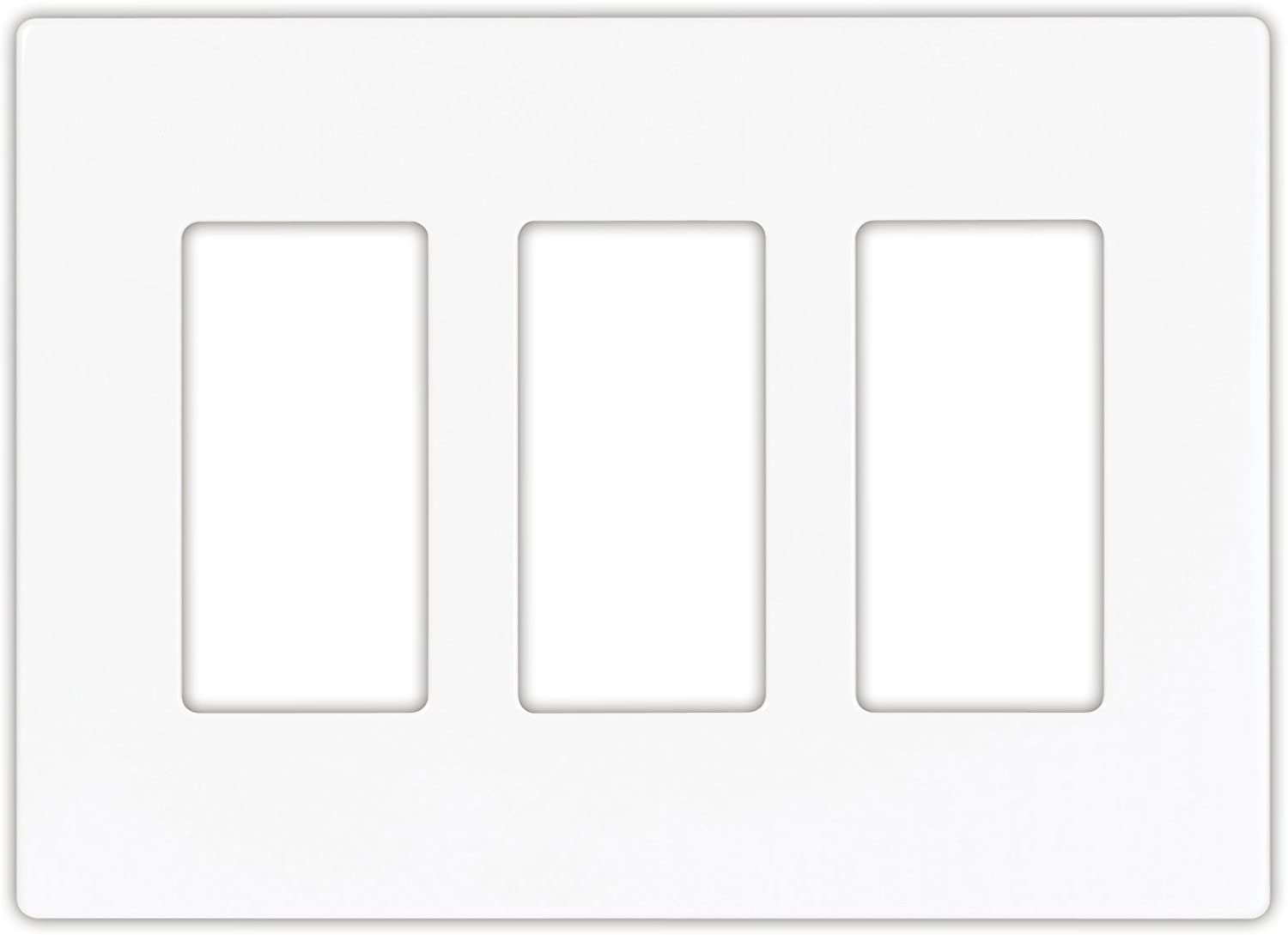 EATON PJS263W Decorative Screwless Wall Plate, 3 Gang, White