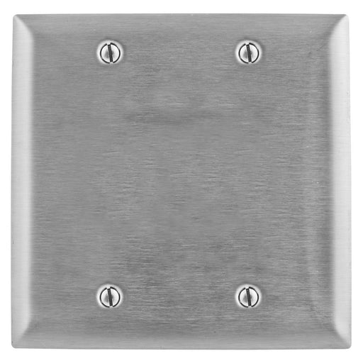 Hubbell SS23L Metallic Plates, 2- Gang, Box Mounted Blank Stainless Steel